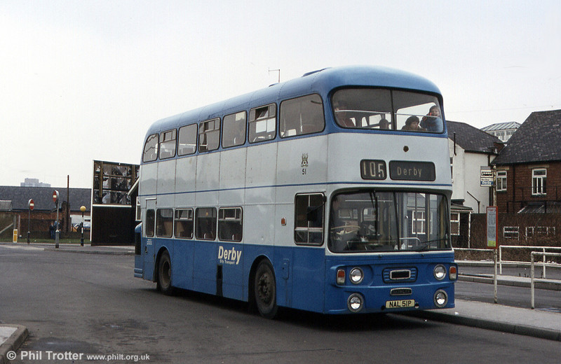 Derby City Transport 51 (NAL 51P), a lowheight Alexander H44/34F bodied Daimler Fleetline FE30AGR, one of three bought for the erstwhile Blue Bus routes. Photographed in February 1984. Incidentally, the correct description of Derby's livery was Larkspur Blue and Morningmist!