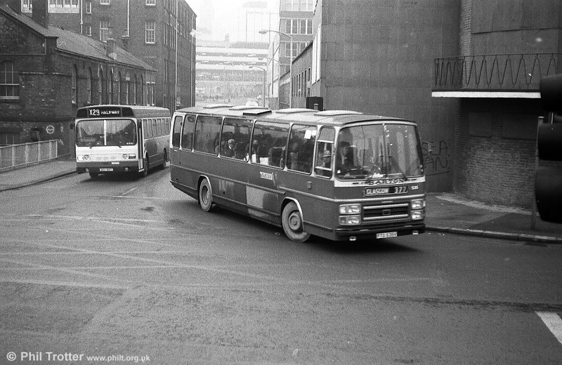 Barton 535 (FTO 535V) a Leyland Leopard/Plaxton C53F seen at sheffield in December 1979.
