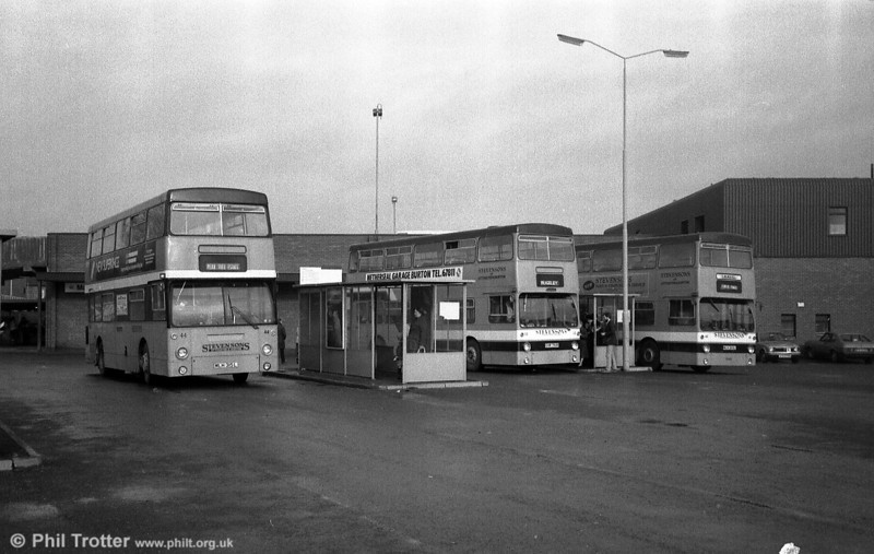 A line up of three former LT DMSs at Rugeley Bus Station. Nearest the camera is 44 (MLH 315L), formerly DMS1315.