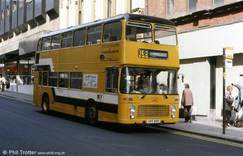 Stevenson's Bristol VRT 49 (UVT 49X) in Birmingham City Centre. Built in August 1981, this was the last VRT and the last wholly Bristol chassis, a VRTISL316LXB.