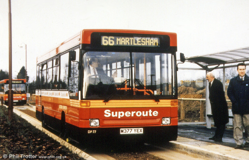 Eastern Counties became the operator of a Kerb Guided Busway at Kesgrave, Ipswich in 1995. Newly delivered DP77 (M377 YEX), a Dennis Dart/Plaxton B34F is seen on test on the 200 metre track which formed part of a route which was branded 'Superoute 66'.