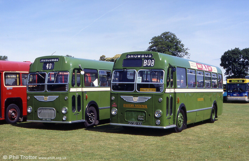 Two Bristol MWs side by side at a Mid Hants Railway rally at Alton. To the left is Eastern National 1960 MW5G/ECW DP41F 519 (2730 VX); alongside is 1961-built Bristol Omnibus 2522 (357 MHU), another MW5G with ECW B45F.