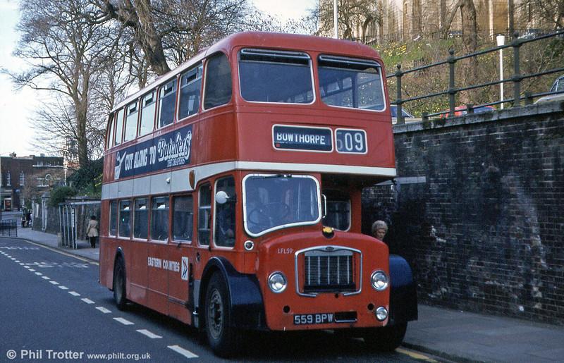 LFL59 (559 BPW) was a 1963 Bristol FL6B/ECW H38/32R, again photographed at Norwich.