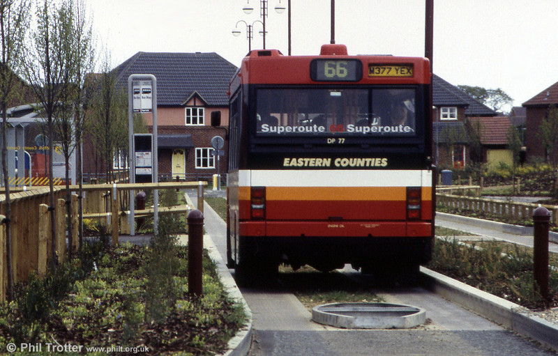 Another view of the Kerb Guided Busway at Kesgrave, Ipswich in 1995, with Dennis Dart DP77.