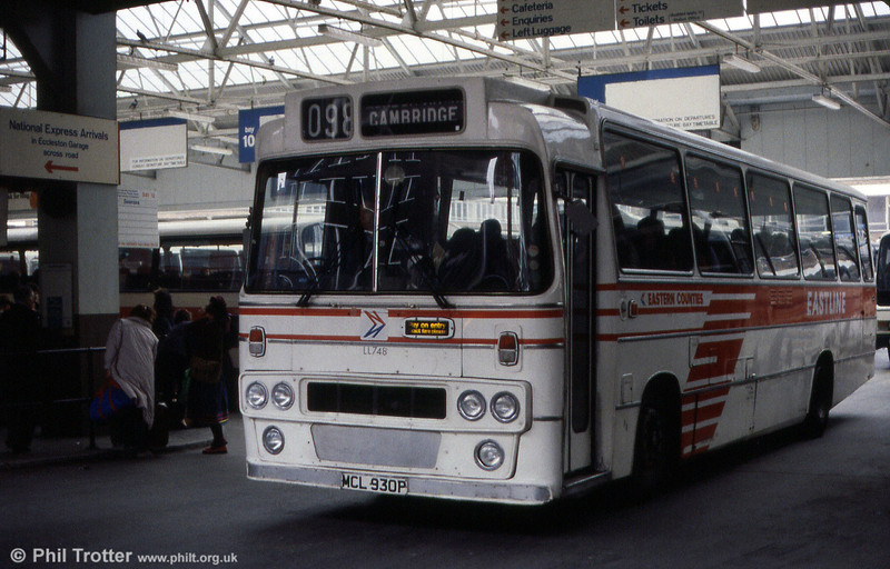 ECOC LL748 (MCL 930P) was a 1976 Leyland Leopard PSU3C/4R with Alexander DP49F, seen at London Victoria Coach Station.