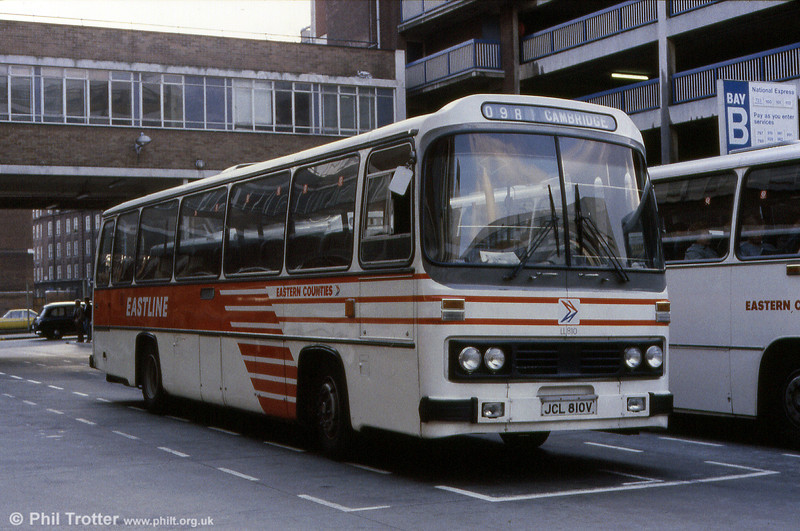Also photographed at at London Victoria Coach Station was LL810 (JCL 810V), a 1979 Leyland Leopard PSU3E/4R with Willowbrook C49F, a type favoured by NBC in its latter days. The coach displays the Eastern Counties version of NBC local coach livery.