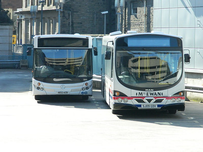 Macewan MAN/WRIGHT and Perrymans Mercedes Benz/MCV at edinburgh bus stn