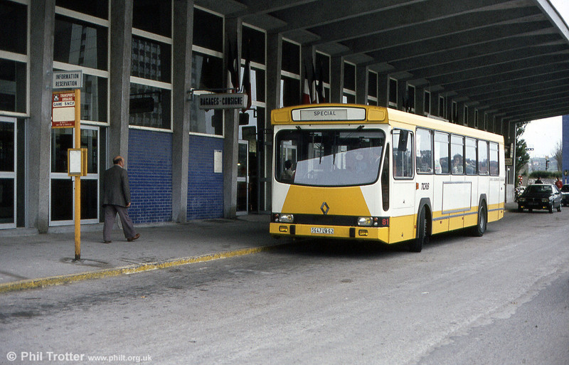 One of France's longest-running city bus types, the PR100 and its derivatives can still be found all over the country. In its production life of over 25 years, the PR100 series has been facelifted twice but still managed to remain recognisably the same bus. Only recently, with the wholesale move towards low-floor buses, has production of the type finally ceased. This example was typical of the type, in service in Boulogne in July 1984.