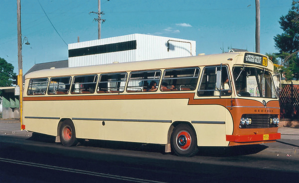 m/o 5976 BEDFORD VAM70/CCMC 74.118 (01/06/74) (B47FR) Photo Location: Route 78 Bus Stand, The Crescent, Fairfield. Photo Date: 02/77 (Photo by Colin Gray, from the Leon Batman Collection) (NOTE: To Bosnjak 11/76 with Evans Sale, then 1980 to Katen & Heath, Fairfield NSW (Silverline) as m/o 4896. De-reg 1996, then re-reg 4/97 as m/o 9239)