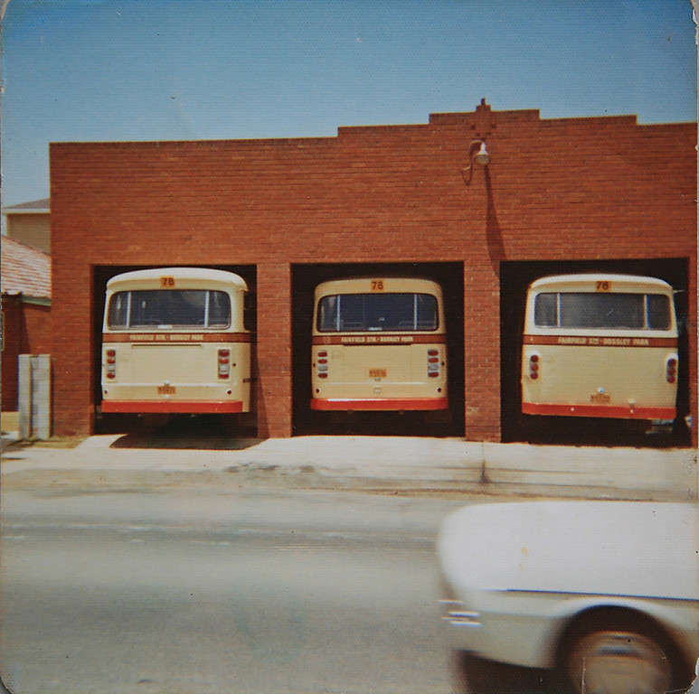 Evans Bus Depot Sackville St, Fairfield NSW (L to R) m/o 5971, m/o 5976 & m/o 5120 Photo Date: 1975.