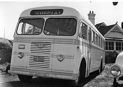 MO5282 (ex Evans m/o 472) ALBION VICTOR/SYD WOOD (#1739) (04/1957) (B37FR) - Photo Location: Singleton Bus Service Depot. (Photo from the K. Magor Collection) (NOTE: Sold 07/06/67 to Western District Bus Lines (Seven Hills) (Tattam & Sinclair) Route 144, then 07/02/69 sold to Singleton Bus Service Reg: MO5282, then 6/74 sold as caravan in Springwood area. (Disposal Details Courtesy S. Dornan)