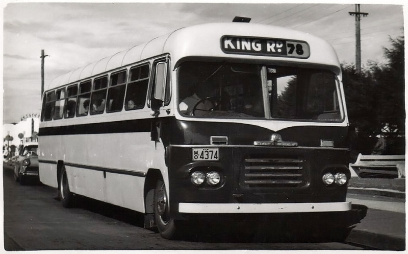 m/o 4374 BEDFORD SB1/CCMC 61.055 (1961) (B41FR) – Photo Location: Route 78 Bus Stand, The Crescent, Fairfield. Photo Date: c1962 (Photo from the K. Magor Collection)