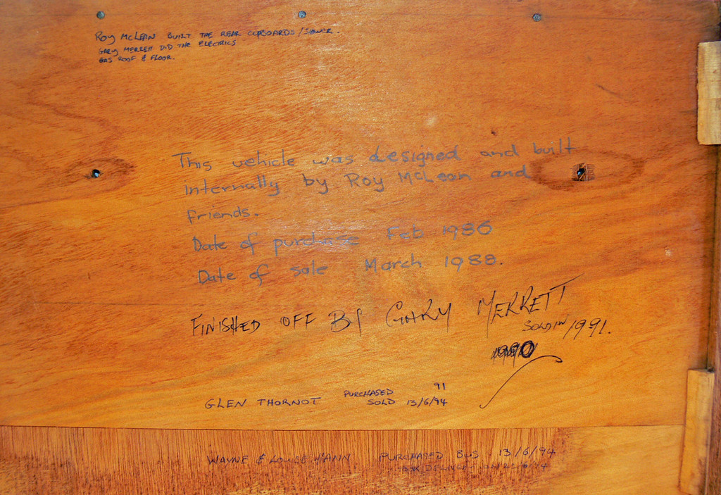 Underside of a draw showing history of owners since conversion to a motorhome of Ex m/o 5742 Bedford VAM70/CCMC 71.163 (29/09/71) (ex B47FR) (Chassis No. H673438) (Ex Evans m/o 5742, ex Sita AUX-828) Sold by Sita Bus Lines in 1986 and converted into a motorhome. Currently owned by the Hann family.(Image from the Hann family collection) It was purchased on the Gold Coast by the Hann family in 1994, travelling from Brisbane to Darwin via Roma and Longreach, then 1yr later back to Brisbane. Later it provided back up support for a family friend walking from Brisbane to Port Douglas in 1997, then in 1998 travelled to Perth. In 2000 it travelled from Perth to Victor Harbor in SA where it remains today.