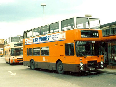 Next in the sequence was 3128 (B128WNB), in standard livery, Bury, 11th June 1986