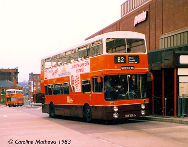 The Mancunians were disappearing when I was living in the area, and for some reason I didn't photograph many. 2226 (BNA226J), seen in Oldham on 16th June 1983 was a Park Royal bodied Daimler Fleetline, and had been repainted into the brown, orange and white livery.,