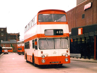 5197 (ABU197J) was a Roe bodied Leyland Atlantean ordered by Oldham Corporation but delivered to SELNEC in 1971. Oldham, 16th June 1983