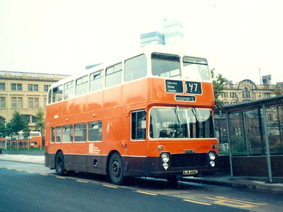 Another batch of odd buses was the 25 ECW bodied Bristol VRTs ordered by North Western. 1408 (AJA408L) is seen at Victoria Station in 1984