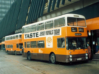 "8427 (SND427X) was a standard NCME bodied Atlantean from 1981. It is seen in Rochdale Bus Station on 9th June 1986, heading for the lovely sounding ""Peppermint Bridge"""