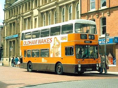 Park Royal bodied Fleetline 7201 (XJA551L), also in Oldham, 11th June 1986