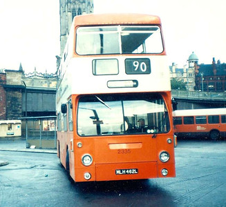 2335 (MLH462L) was an ex London transport Daimler Fleetline and was part of the Lancashire United fleet prior to GMPTE taking the operator over. It is leaving Victoria Bus Station sometime in 1984