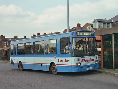 Many of Blue Bus's new purchases had bespoke registrations, such as 2 (M2BLU), an East Lancs bodied Dennis Dart.