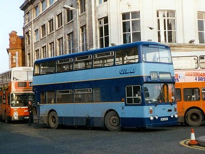 Another Citibus Atlantean/Roe is 658 (XWG658T), turning intio Piccadilly on 8th January 1993