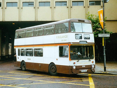 Finglands was another operator of ex-GMT buses. 1702 (VNB239) is a Northern Counties bodied Daimler Fleetline and is seen turning from Cannon Street into Corporation Street on 12th August 1993