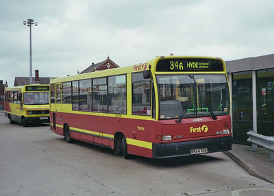 Pennine Blue was bought by PMT and so became part of the First group. Marshall bodied Dennis Dart IDC944 (M944SRC) is seen in yellow and red PMT livery and with PMT style fleetnumber, Ashton Bus Station