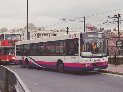 First MAnchester 580 (R580SBA), a Wright bodied Volvo b10BLE in Piccadilly Bus Station