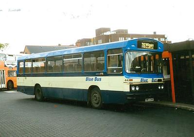 Blue Bus 44 (OWO234Y), an ex Merthyr Duple bodied Leyland Leopard, Wigan Bus Station