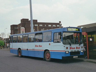 Blue Bus adopted a different two-tone blue livery at some stage: 74 (WJI9074), at Wigan Bus Station, is a Leyland Tiger, rebodied by East Lancashire from Plaxton bodied EWR657Y