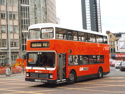 Greater Manchester Buses Dennis Dominator/Northern Counties 2034 (H134SVM) turning into Corporation Street on 11th May 1991