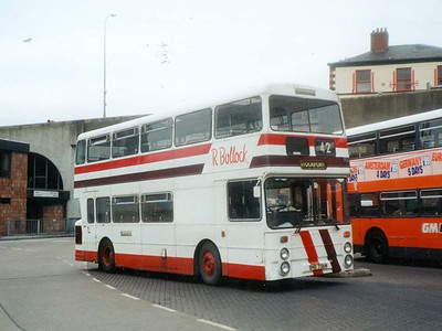 Bullocks were one of many operators who made use of Greater Manchester Transport's excess buses after deregulation. Northern Counties bodied Daimler Fleetline BNE736N is seen in Stockport Bus Station on 7th April 1993