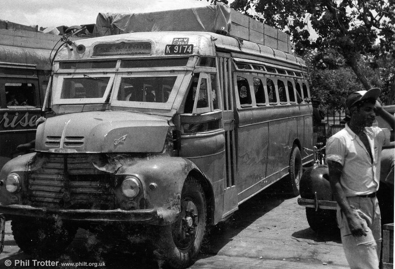 A Leyland Comet with a roof mounted baggage carrier, indicating that this vehicle was a non-JU vehicle. The destination indicates that this was running on a country service to deeply rural Cedar Valley via Morant Bay. (Thanks are due to H McLean for additional information).