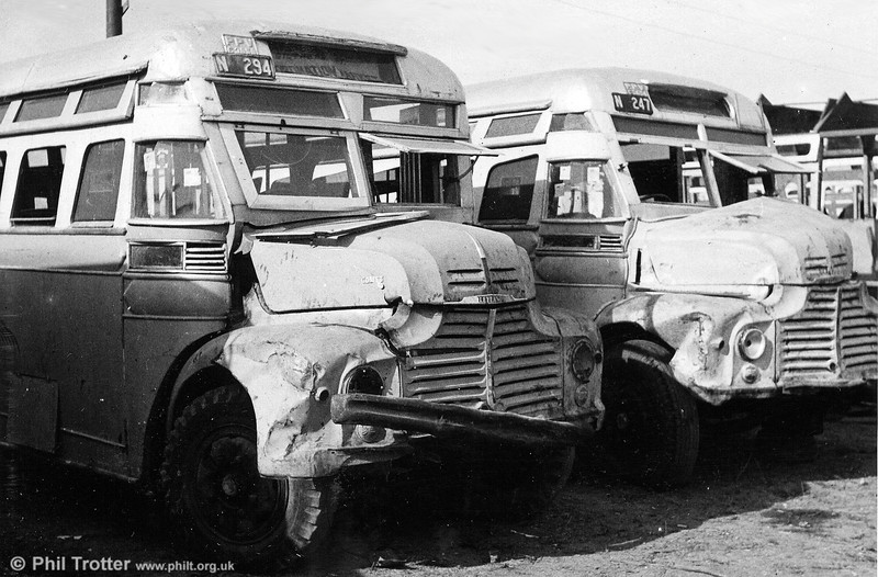 Withdrawn Leyland Comets N295 and N247awaiting a decision on their future. The Leyland Comet was introduced in 1947 as a medium weight truck or bus chassis. It had a semi forward control arrangement, making it suitable for export.