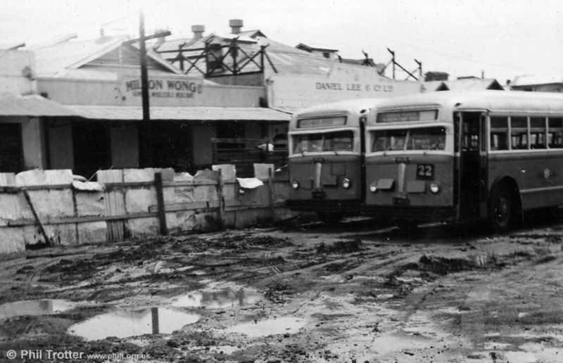 These photos were taken to show the condition of the depot yard at West Street. These are two of the White vehicles in the D1-30 series in unrebuilt condition.