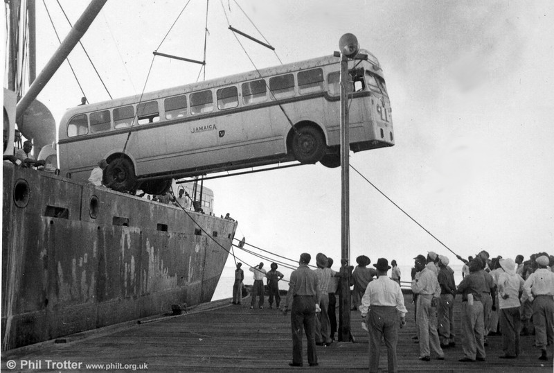 Unloading buses at Kingston (2). There appear to have been very few health and safety precautions!