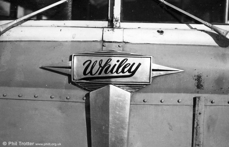 Bonnet badge of an unrebuilt White vehicle. It is believed that some of the White buses had their American-built engines replaced with (British) Leyland-built ones, and the rebadging was done to reflect that; White-Leyland became Whiley.