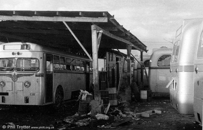 New vehicles in the 'workshops' at West Street. C22 was one of the 1953 Leyland Royal Tigers with MCW bodywork.