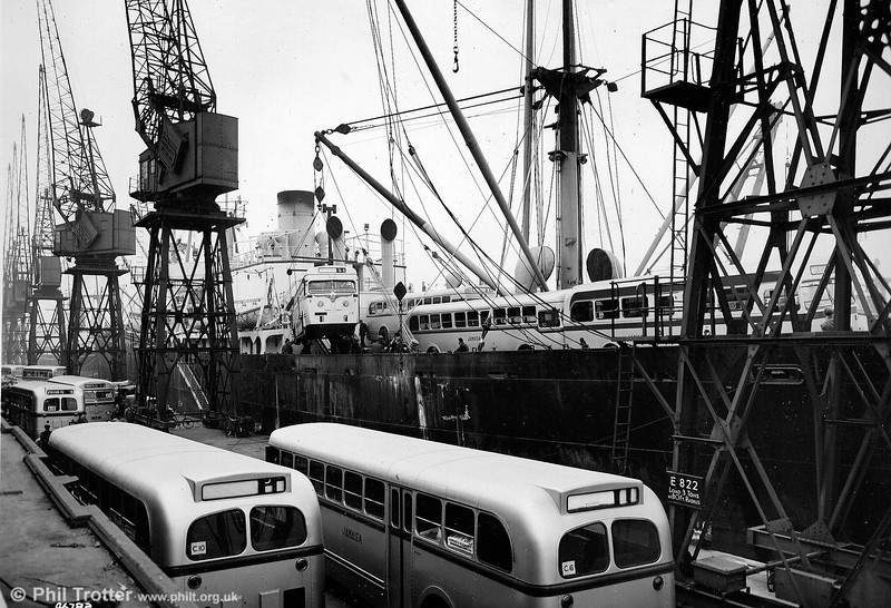 A busy scene at the Port of London as vehicles are loaded for export.