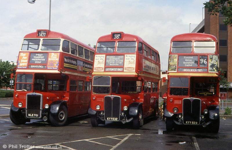Three London icons; RTL 1427 and RTS 1705 and 1702 on 31st May 1993.