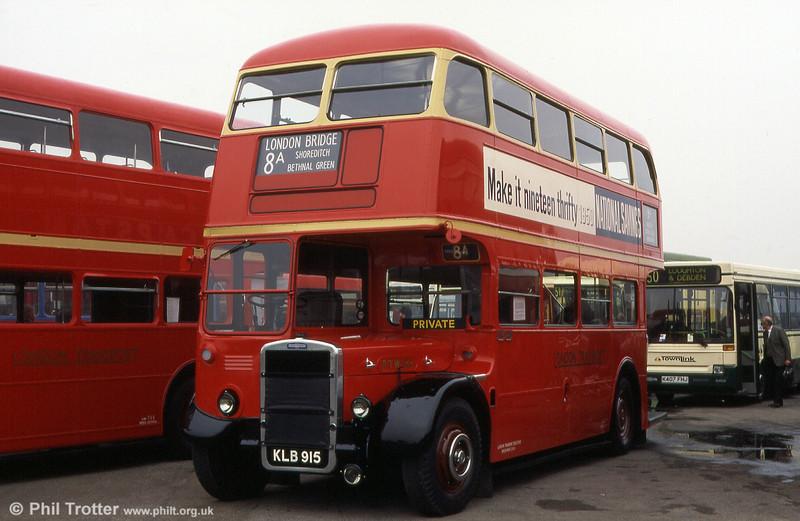 KLB 915 is a 1949 Leyland Titan 6RT, London Transport RTW185.