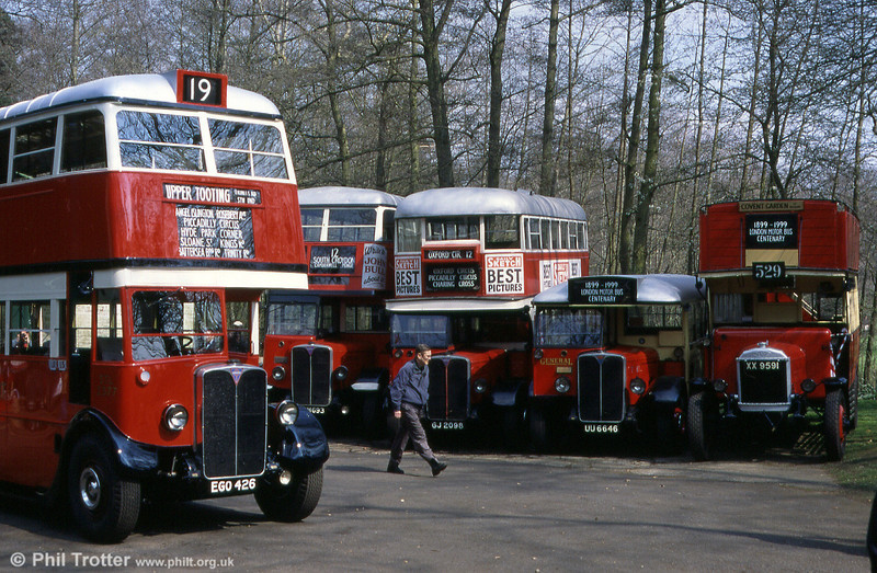 A vintage LPTB line up at Cobham Museum in 2000.