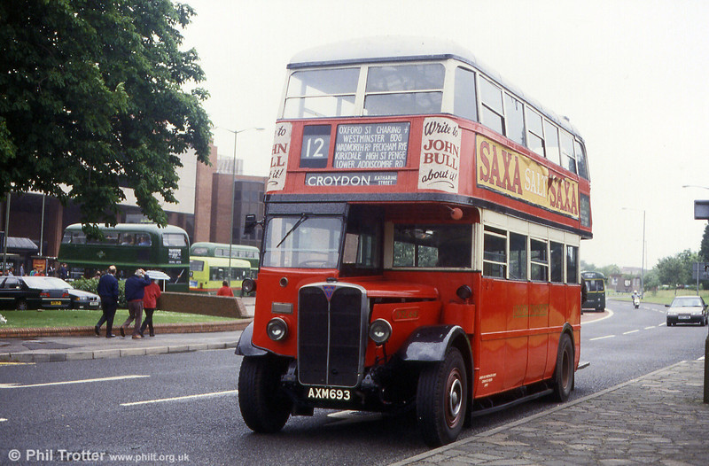 LPTB STL441 (AXM 693), 1934 AEC Regent 06612661 taking part in a running day at Staines in May 1993.