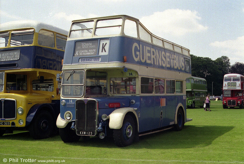 Former London Transport and Guernseybus RT2494 (KXW 123) is seen at a Mid Hants Rally.