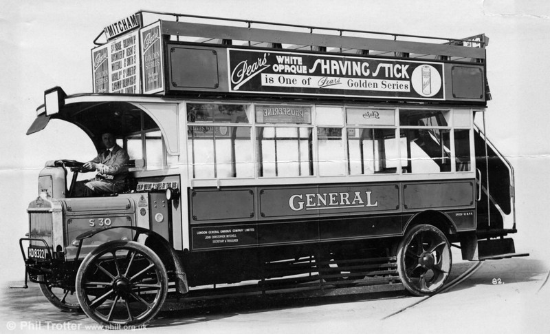 A recently discovered manufacturer's photograph of London General S30 (XD 8322). The S-type was introduced in 1921, taking advantage of a new legal maximum permitted weight of 8.5 tons and with seating for 54 passengers.
