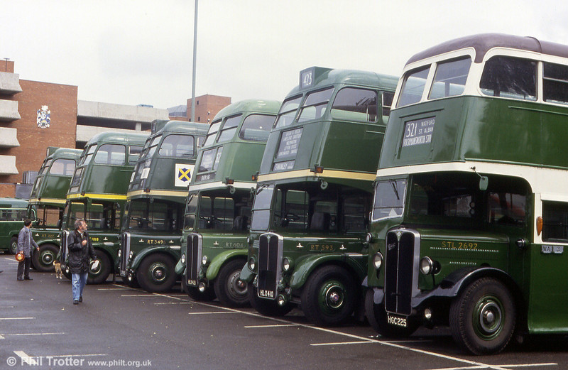 AEC Regent II/Weymann STL2692 (HGC 225) leads a line up of green RTs at Barking on 31st May 1993.
