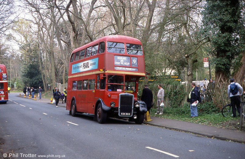 London Transport RTL139 (KGK 803) in service at Cobham in 2000.