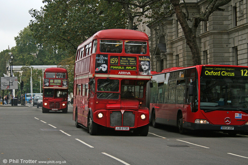 RML2573 (JJD 573D) and a sister head into Whitehall on 29th October 2005.