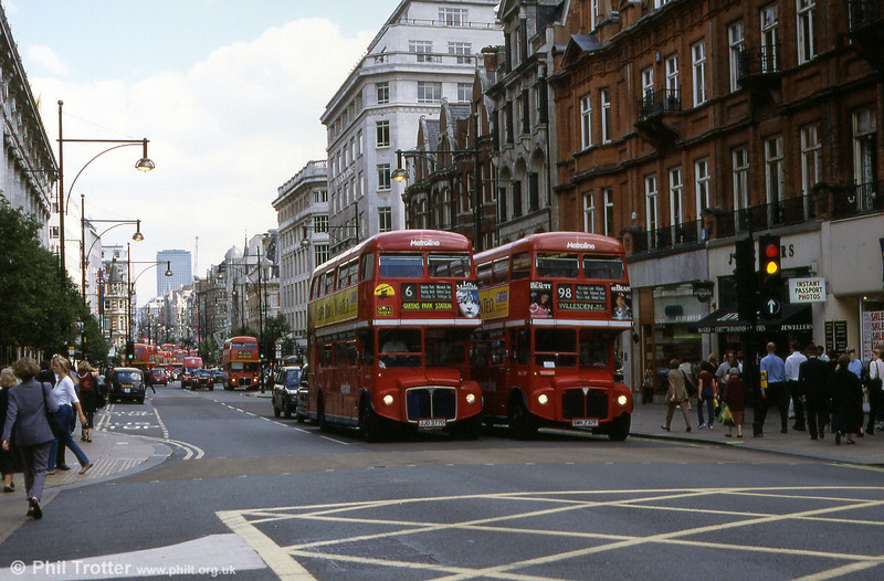 A sight never to be seen again. Oxford Street in August 1999 with RMLs 2377 (JJD 377D) and 2737 (SMK 737F) on routes 6 and 98 respectively. Routemasters were ousted from both these routes on 26th March 2004. In the background, the street is full of Routemasters! RML2377 was last recorded as having been exported to Korea.